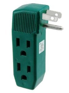 p - Vertical Shape Triple Prong Wall Splitter Adapter For Behind Furniture - Multi Plugin Locations (2) On Right Side & (1) On Left Side- Green Color ( UL Listed ) - By Katzco (Blade Flat Plug In Adapters)
