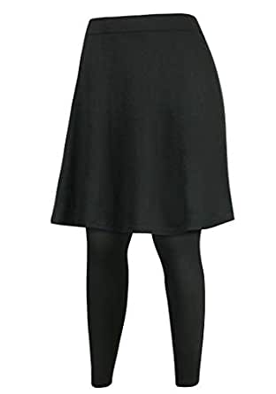 ililily Knee Length Flare Skirt Leggings Plus-Size Elastic Curves Skinny Pants, Black, 2 X-Large