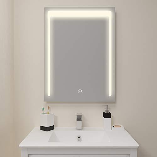 SUNNY SHOWER Wall Mounted Mirror with Backlit Lights Anti-Fog Bathroom Vanity Mirror, -