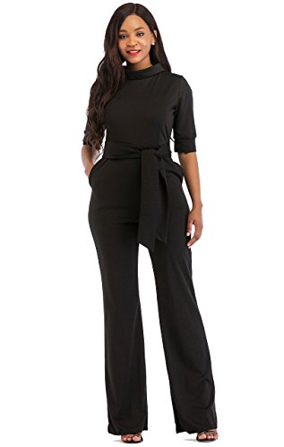 Mojessy Women's Half Sleeve Candy Solid Bodycon Jumpsuits Wide Leg Long Romper Pants with Belt Small Black (Long Jumper Black)
