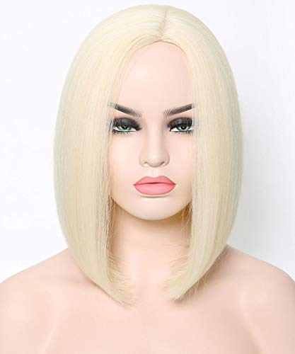 Benegem Blonde Bob Wigs Side Part Slightly 13.5 inches Color 613 Synthetic Lob Wigs Heat Resistant]()