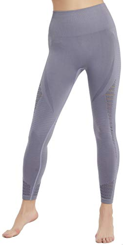 Savage Cut High Waist Tummy Control Slimming Seamless Leggings (Grey, Medium)