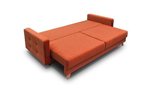 MEBLE FURNITURE & RUGS Vegas Futon Sofa Bed, Queen Sleeper with Storage, Orange