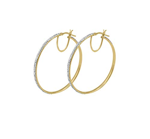 Amata Fine Jewelry 18K Yellow Gold Plated Sterling Silver Large Hoop Earrings for Women - Studded with Swarovski Austrian Crystals (40mm Round - Earrings Sterling Crystal Austrian Silver