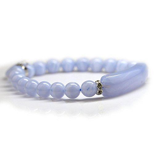 "Handmade Gemstone Bange 7.2"" Elastic Bracelet Match Heart-shaped Beads (Blue chalcedony)"