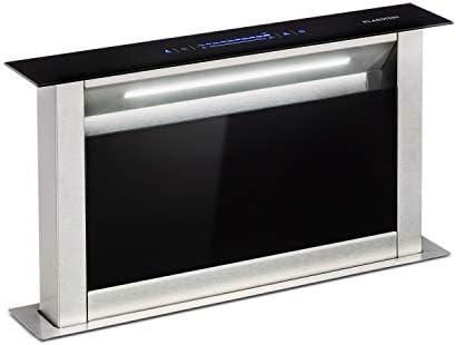 Klarstein Royal Flush Eco Extractor de humos de mesa - Replegable, 60 cm, Absorción de 458 m³/h, Absorción y ventilación, Emisión de 60 db, Control táctil, Iluminación de la cocina LED, Negro: