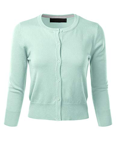 - FLORIA Women's Crew Neck Button Down 3/4 Sleeve Stretchy Knit Cardigan Sweater Aqua S