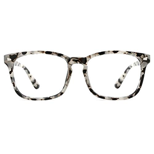 TIJN Blue Light Blocking Glasses Square Nerd Eyeglasses Frame Anti Blue Ray Computer Game Glasses (Marble) ()