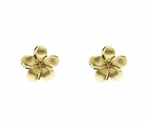 14K solid yellow gold Hawaiian 7mm plumeria tropical flower post stud (Plumeria Flower Diamond Earrings)