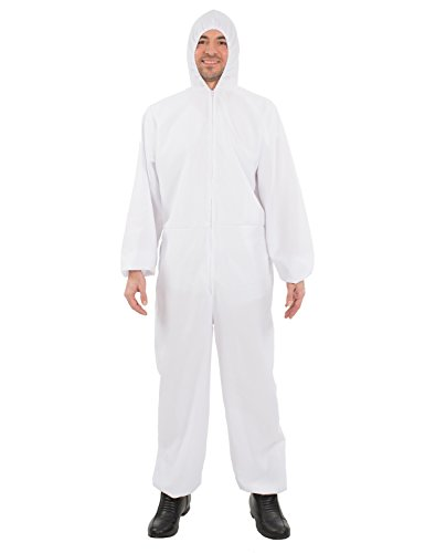 Adult Unisex White Hazmat Suit Chemical Forensic Halloween Costume]()