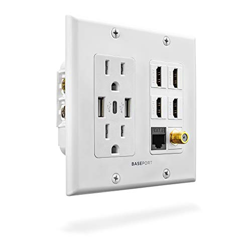 HDMI Ethernet Wall Plate Faceplate,1 Port Cat6 Ethernet 2 Port HDMI 2.0 Decorative Wall Plate Female to Female for HDTV Cable Compatible with Cat6//Cat5//Cat5e White