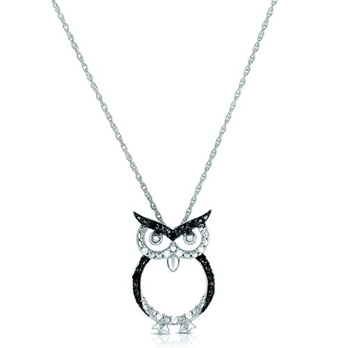NATALIA DRAKE Blowout Sale Sterling Silver Black and White Diamond 1/10CTW Wise Owl Pendant