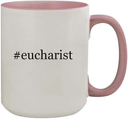 #eucharist - 15oz Hashtag Colored Inner & Handle Ceramic Coffee Mug, Pink