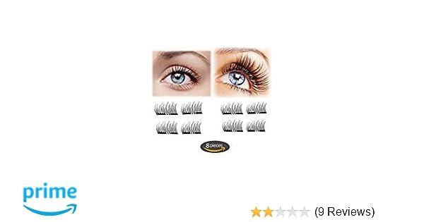 57843f92d3d Amazon.com : Magnet Eyelashes-Dual Magnetic False Eyelashes Cover Half Eyes  with Reusable No Glue (2 pair 8 pieces) Lightweight 100% Handmade Eyelashes  ...