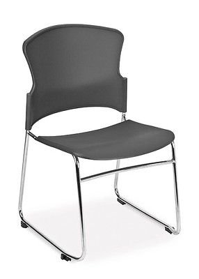 OFM Multi-Use Stack Chair with Plastic Seat, Back and Gray - Ofm Armless Stacking Chair