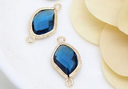 - Laliva 2pcs 2312mm Bracelet Connector End Clasps Crystal Stone Birthstones Connector Charms Gem Stone for DIY Earrings Jewelry Making - (Color: Gold Blue)