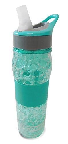 19oz (570ml) Double Wall Tritan BPA-free bottle with insta-freeze gel liner, ergo silicone hand grip, straw top lid with bonus straw, dishwasher safe, (Aqua)
