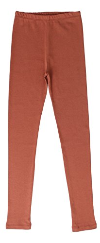 CAOMP Girls'%100 Organic Cotton Leggings for School Play (11-12, Brown) ()