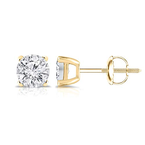 Diamond Wish 14K Yellow Gold Round Lab Created Diamond Stud Earrings (0.25 cttw, G-H Color, VS2-SI1 Clarity) 4-Prong set, Screw Back