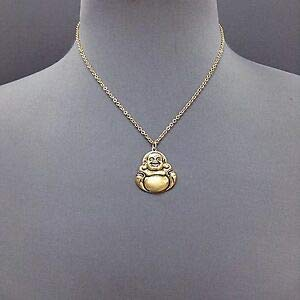 Trendy Bohemian Stylish Antique Gold Metal Buddha Pendant Necklace Fashion Jewelry for Women Man ()