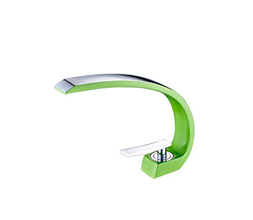 JONTON Basin faucet fat big curved bathroom basin faucet hot and cold water single hole, electroplating section - green