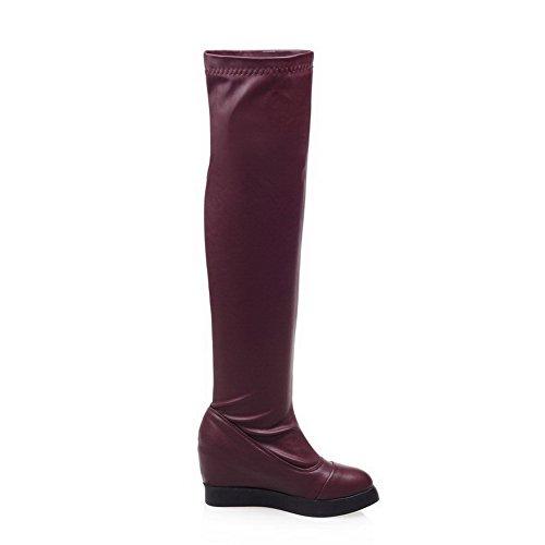 AgooLar Damen Mittler Absatz Überknie Hohe Stiefel Rein Ziehen auf Stiefel, Rot, 37