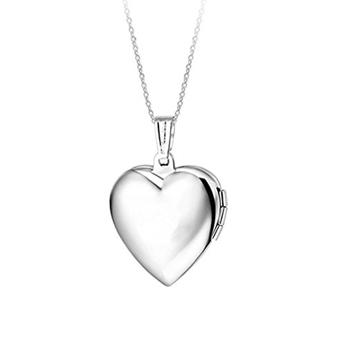 - Dazzle flash Stainless Steel Picture Frame Heart Locket Necklace Family Lover Memoral NGG245-B