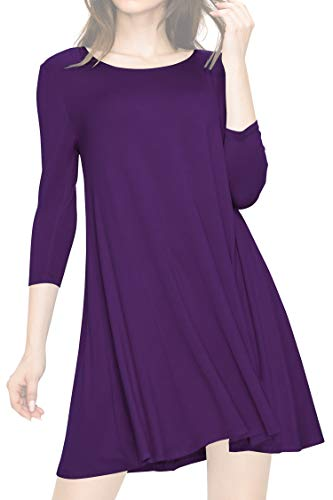 LL WDR930 Womens Round Neck 3/4 Sleeves Trapeze Dress with Pockets M PURPLE -