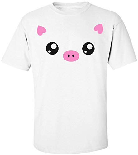 Finest Prints Cute Piggy Face With Heart Shaped Ears Men's T-Shirt - Faces Pictures Of Shaped Heart