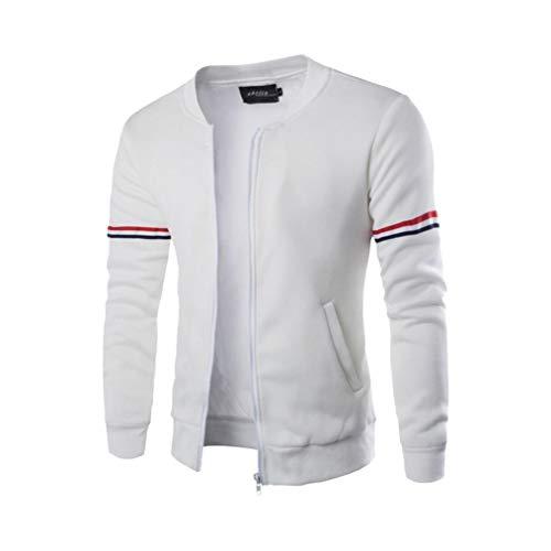 (REYO Men's Jackets Casual Sale, Autumn Winter Decorative Ribbon Leisure Jacket Collar Hooded Sweatshirt weatshirt Tops White)