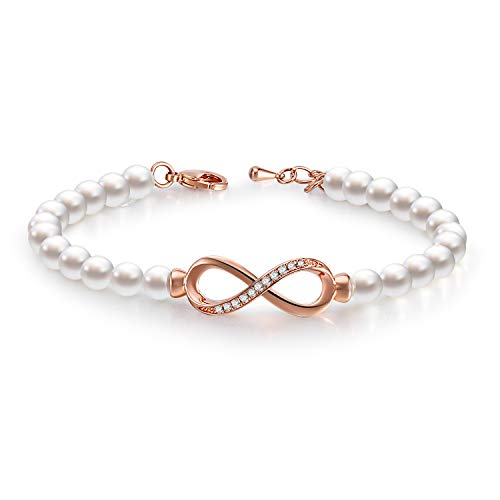 GEORGE · SMITH Forever Elegance Adjustable Infinity Freshwater Cultured Pearl Bracelet for Women, Crystals Jewelry Bridesmaids Bridal Collection with Luxury Gift Box (Rose Gold-Infinity)