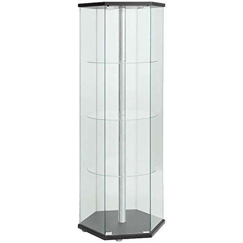 BOWERY HILL Hexagonal 4 Shelf Glass Curio Cabinet Display Case in Black and Chrome by BOWERY HILL