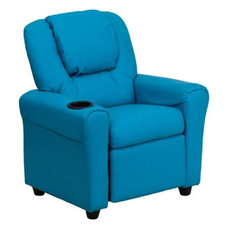 HOME HAVEN LLC Vinyl Recliner Cup Holder Headrest, Contemporary Children's Recliner, Features a Headrest Added Comfort, Plush Comfort, Durable Vinyl Upholstery, Easy to Clean + Expert Guide -