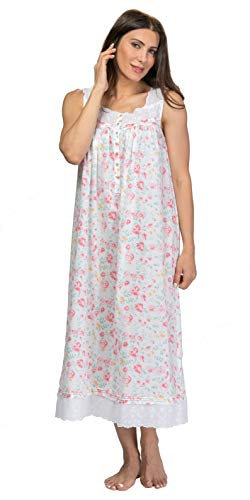 Eileen West Long Sleeveless Cotton Lawn Nightgown in Savannah Floral (White/Peach Floral, X-Large)