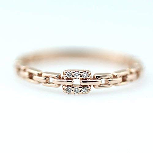 Diamond Rings, 14K Solid Gold Diamond Set Chain Style Ring, Square Diamond Ring, Unique Ring -