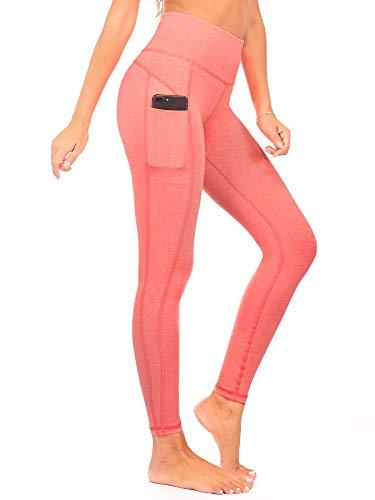 (DEAR SPARKLE High Waist Yoga Pants Workout 3 Pockets Tummy Control Running Leggings Plus (S1) (Coral, X-Large))