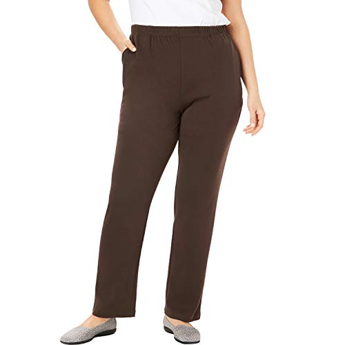 Woman Within Women's Plus Size 7-Day Knit Straight Leg Pant - Chocolate, 3X (Best Pants For Plus Size Apple Shape)