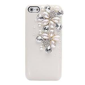JOEPearl Zircon Flower Pattern Metal Jewelry Back Case for iPhone 5/5S