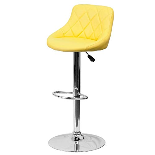 (Modern Style Bar Stools Low Back Horizontal Stitched Design Durable Vinyl Upholstery Height Adjustable 360-Degree Swivel Seats Drafting Dining Chair Bar Pub Home Office Furniture - [1] Yellow #2242)