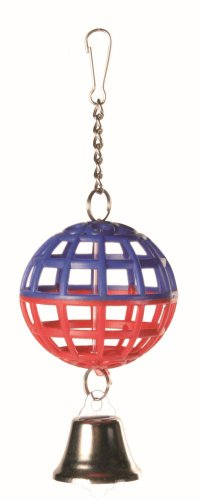 Trixie Plastic Lattice Ball with Chain and Bell, 7cm Diameter