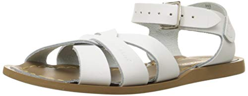 (Salt Water Sandals by Hoy Shoe Girls' Salt Water Original Flat Sandal, White, 9 W11 M US Big)