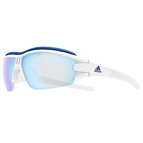 adidas Evil Eye Halfrim Pro S Sunglasses 2018 White Shiny Vario Blue ()