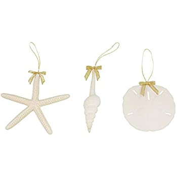 Tumbler Home Sea Life Ornament Trio with Gold Bow- White Spindle Seashell, 3.5 in Sand Dollar and 4.5 in Pencil Starfish