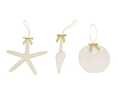 Tumbler Home Sea Shell Christmas Decoration Ornaments with Gold Bow- White Spindle Seashell, 3.5 in Sand Dollar and 4.5 in Pencil Starfish (Dollar Cheap Christmas Tree Decorations)