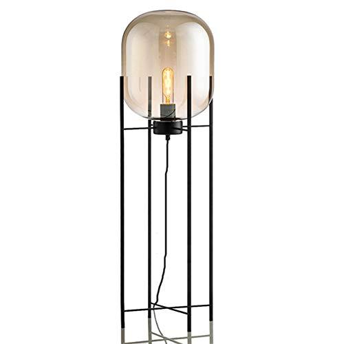 Floor Lamp Table Lamp Glass Shade Four Tripod Uplighter for Study Read Ing Living Room, Bedroom, Child Room, Restaurant, Bar, Coffee Shop Desk Spotlight (Color : Amber, Size : 132cm) (Amber Chrome Lamp Table)