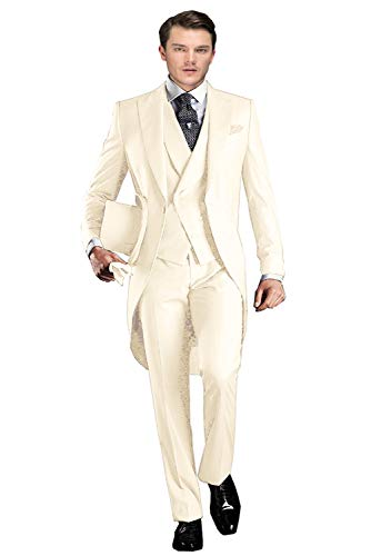 Wemaliyzd Men's Formal 3 Pieces Wedding Swallowtail Suit Double Breasted Vest Trousers(Ivory,40S) -