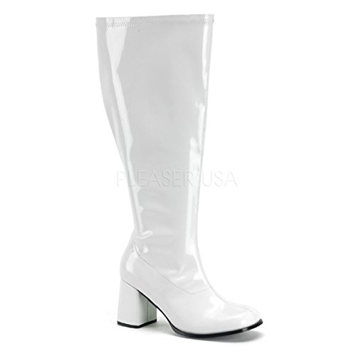 White Gogo Boots Wide Calf (Women's Wide Width Gogo Boot, 3 Inch Block Heel (White;7))