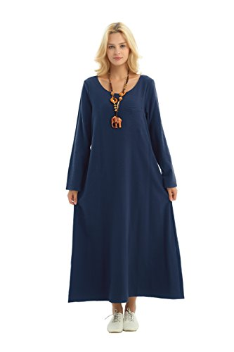 (Anysize Long-Sleeved Linen Cotton Spring Summer Dress Plus Size Clothing F148A Navy)