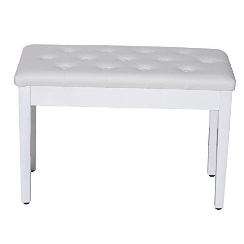 Gracelove White Leather Padded Piano Bench Double Duet Keyboard Seat with Storage (White)