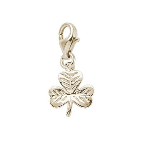 14K Yellow Gold Shamrock Charm With Lobster Claw Clasp, Charms for Bracelets and Necklaces 14k Yellow Gold Shamrock Charm